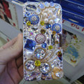 Swarovski crystal cases Flower Bling diamond pearl covers for iPhone 5C - Blue