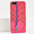 Ultrathin Matte Cases Lonely child Hard Back Covers for iPhone 5C - Red