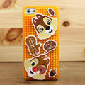 3D Squirrel Cover Disney DIY Silicone Cases Skin for iPhone 5S - Brown