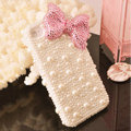 Bling Bowknot Crystal Cases Rhinestone Pearls Covers for iPhone 5S - Pink