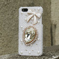 Bling Bowknot Crystal Cases Rhinestone Pearls Covers for iPhone 5S - White