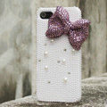 Bling Bowknot Rhinestone Crystal Cases Pearls Covers for iPhone 5S - Purple
