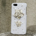 Bling Flower Crystal Cases Rhinestone Pearls Covers for iPhone 5S - White