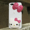 Bling Hello kitty Crystal Cases Rhinestone Pearls Covers for iPhone 5S - Rose