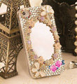 Bling Mirror Flowers Crystal Cases Covers for iPhone 5S - White