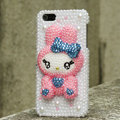 Bling Rabbit Crystal Cases Rhinestone Pearls Covers for iPhone 5S - Pink