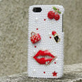 Bling Red lips Crystal Cases Rhinestone Pearls Covers for iPhone 5S - White