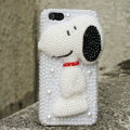 Bling Snoopy Crystal Cases Rhinestone Pearls Covers for iPhone 5S - White
