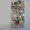 Bling Swarovski crystal case Flower Hello kitty diamond cover for iPhone 5S - White