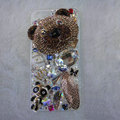 Bling Swarovski crystal cases Bear diamond covers for iPhone 5S - Brown