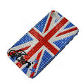 Bling Swarovski crystal cases Britain flag diamond covers for iPhone 5S - Blue