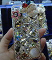 Bling Swarovski crystal cases Butterfly bear diamond cover for iPhone 5S - White
