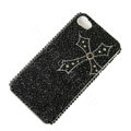 Bling Swarovski crystal cases Cross diamond covers for iPhone 5S - Black