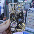 Bling Swarovski crystal cases Crown diamond covers for iPhone 5S - White