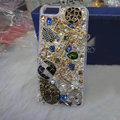 Bling Swarovski crystal cases Eiffel Tower diamond covers for iPhone 5S - White