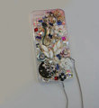 Bling Swarovski crystal cases Flower diamond cover skin for iPhone 5S - White