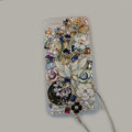 Bling Swarovski crystal cases Flower diamond covers for iPhone 5S - White