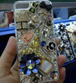 Bling Swarovski crystal cases Flowers diamond cover for iPhone 5S - Navy blue