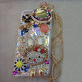 Bling Swarovski crystal cases Hello kitty diamonds cover for iPhone 5S - White