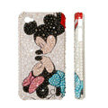 Bling Swarovski crystal cases Mickey Mouse diamond covers for iPhone 5S - White