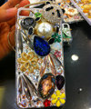 Bling Swarovski crystal cases Panda pearls diamond cover for iPhone 5S - White