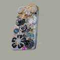 Bling Swarovski crystal cases Skull diamond cover for iPhone 5S - Black