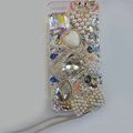 Bling Swarovski crystal cases Swan diamond cover for iPhone 5S - White