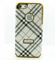 Burberry Luxury leather Cases Hard Back Covers for iPhone 5S - White