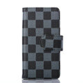 Cheapest LV Louis Vuitton Lattice Leather Flip Cases Holster Covers For iPhone 5S - Blue