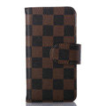 Cheapest LV Louis Vuitton Lattice Leather Flip Cases Holster Covers For iPhone 5S - Brown