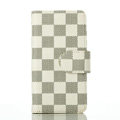 Cheapest LV Louis Vuitton Lattice Leather Flip Cases Holster Covers For iPhone 5S - White