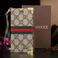 Classic Gucci High Quality Leather Flip Cases Holster Covers For iPhone 5S - Brown