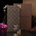 Classic LV Louis Vuitton Flower Leather Flip Cases Holster Covers For iPhone 5S - Brown