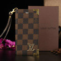 Classic LV Louis Vuitton Lattice Leather Flip Cases Holster Covers For iPhone 5S - Brown