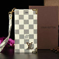 Classic LV Louis Vuitton Lattice Leather Flip Cases Holster Covers For iPhone 5S - White