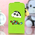 Crayon Shin-chan Flip leather Case Holster Cover Skin for iPhone 5S - Green