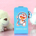 Doraemon Flip leather Case Holster Cover Skin for iPhone 5S - Blue