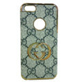 GUCCI Luxury leather Cases Back Hard Covers Skin for iPhone 5S - Grey
