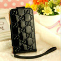 GUCCI leather Cases Luxury Holster Covers Skin for iPhone 5S - Black