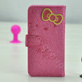 Hello Kitty Side Flip leather Case Holster Cover Skin for iPhone 5S - Rose