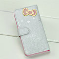 Hello Kitty Side Flip leather Case Holster Cover Skin for iPhone 5S - Silver