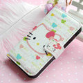 Hello Kitty Side Flip leather Case Holster Cover Skin for iPhone 5S - White 03