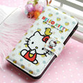 Hello Kitty Side Flip leather Case Holster Cover Skin for iPhone 5S - White 04