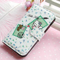 Hello Kitty Side Flip leather Case Holster Cover Skin for iPhone 5S - White 06