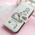 Hello Kitty Side Flip leather Case Holster Cover Skin for iPhone 5S - White 07