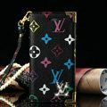High Quality LV Louis Vuitton Flower Leather Flip Cases Holster Covers For iPhone 5S - Black