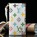 High Quality LV Louis Vuitton Flower Leather Flip Cases Holster Covers For iPhone 5S - White
