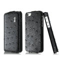 IMAK Ostrich Series leather Case holster Cover for iPhone 5S - Black