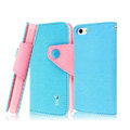 IMAK cross leather case Button holster holder cover for iPhone 5S - Blue