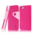 IMAK cross leather case Button holster holder cover for iPhone 5S - Rose